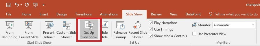 set up powerpoint slideshow as information screen