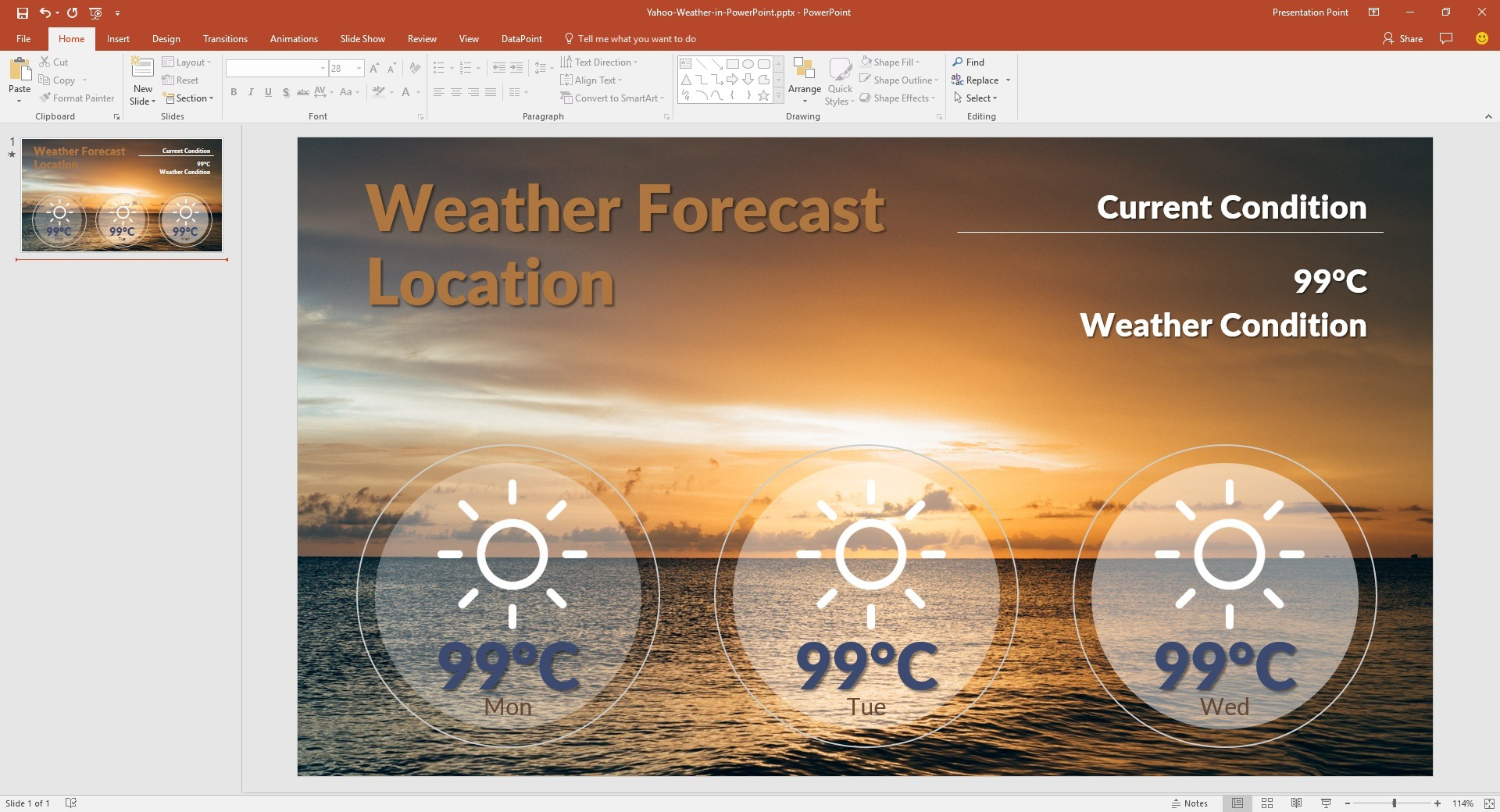 Live Yahoo Weather in PowerPoint • PresentationPoint