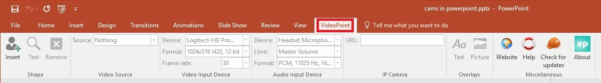 videopoint menu in powerpoint ribbon