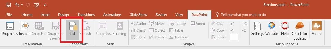 datapoint menu