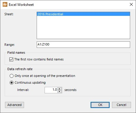 set excel range and other data options