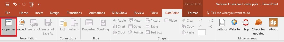 datapoint presentation properties