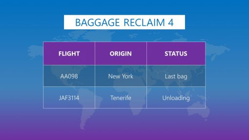 Premium PowerPoint template for Airports - Baggage reclaim info