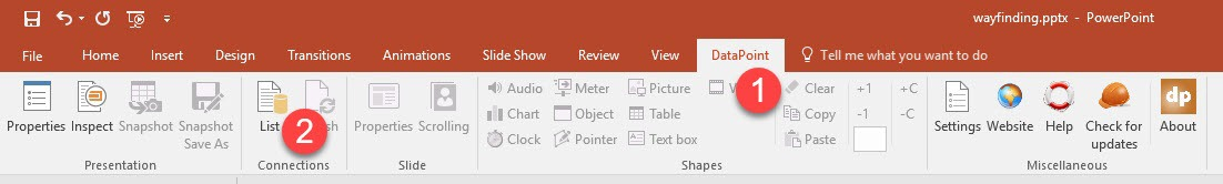 DataPoint option in PowerPoint ribbon