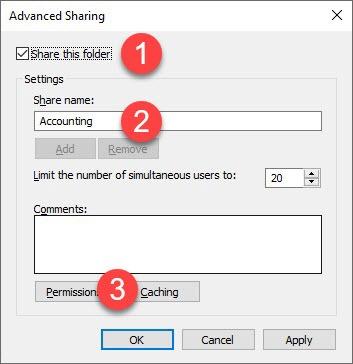 open advanced sharing options