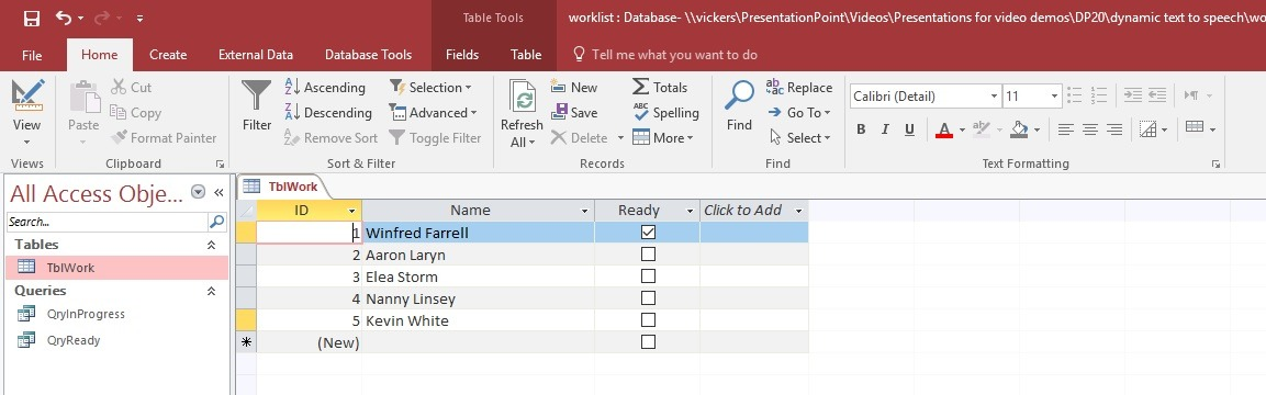 ms access raw data for powerpoint text to speech