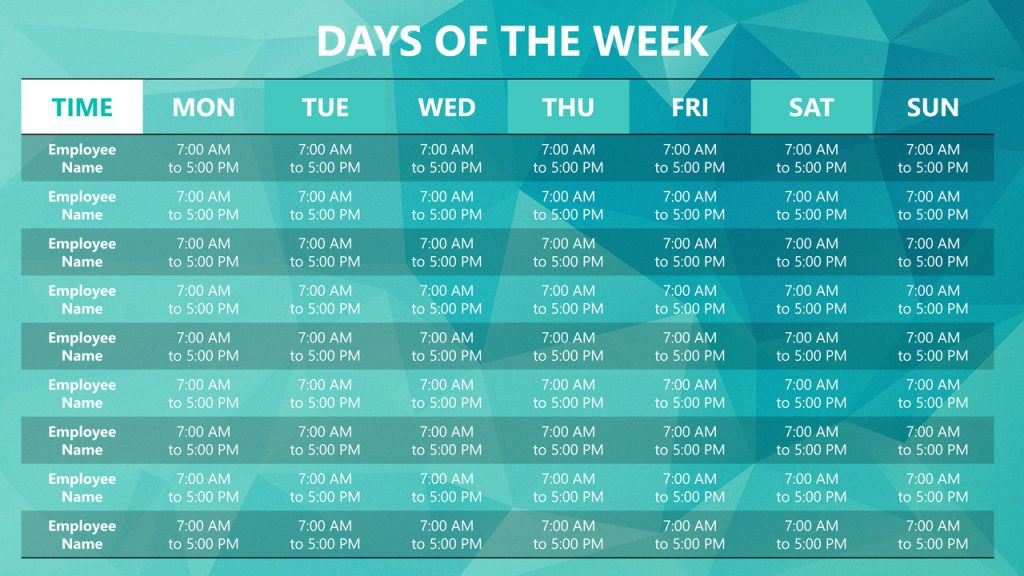 Free PowerPoint Weekly Schedule Template - Days of the week