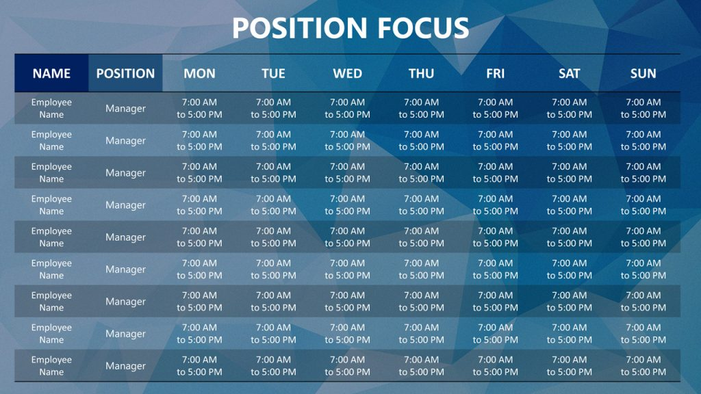 Free PowerPoint Weekly Schedule Template - Position Focus