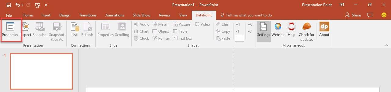 open the presentation properties menu