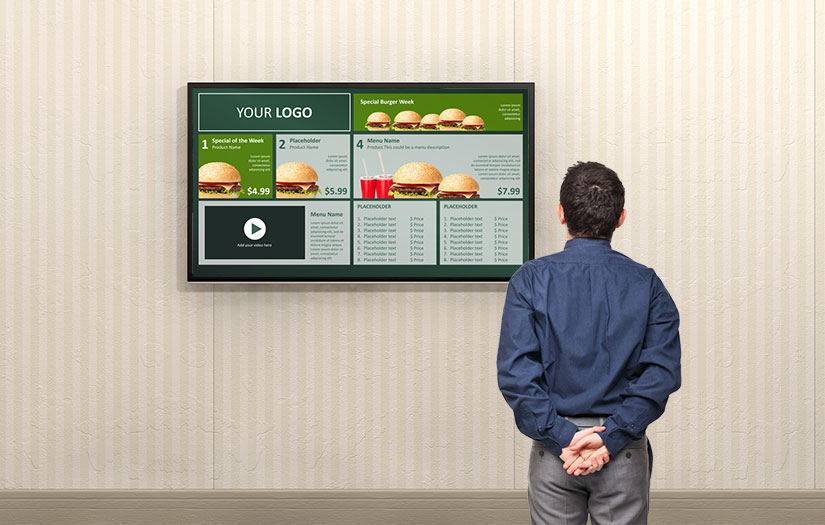 Screen with digital signage playlist