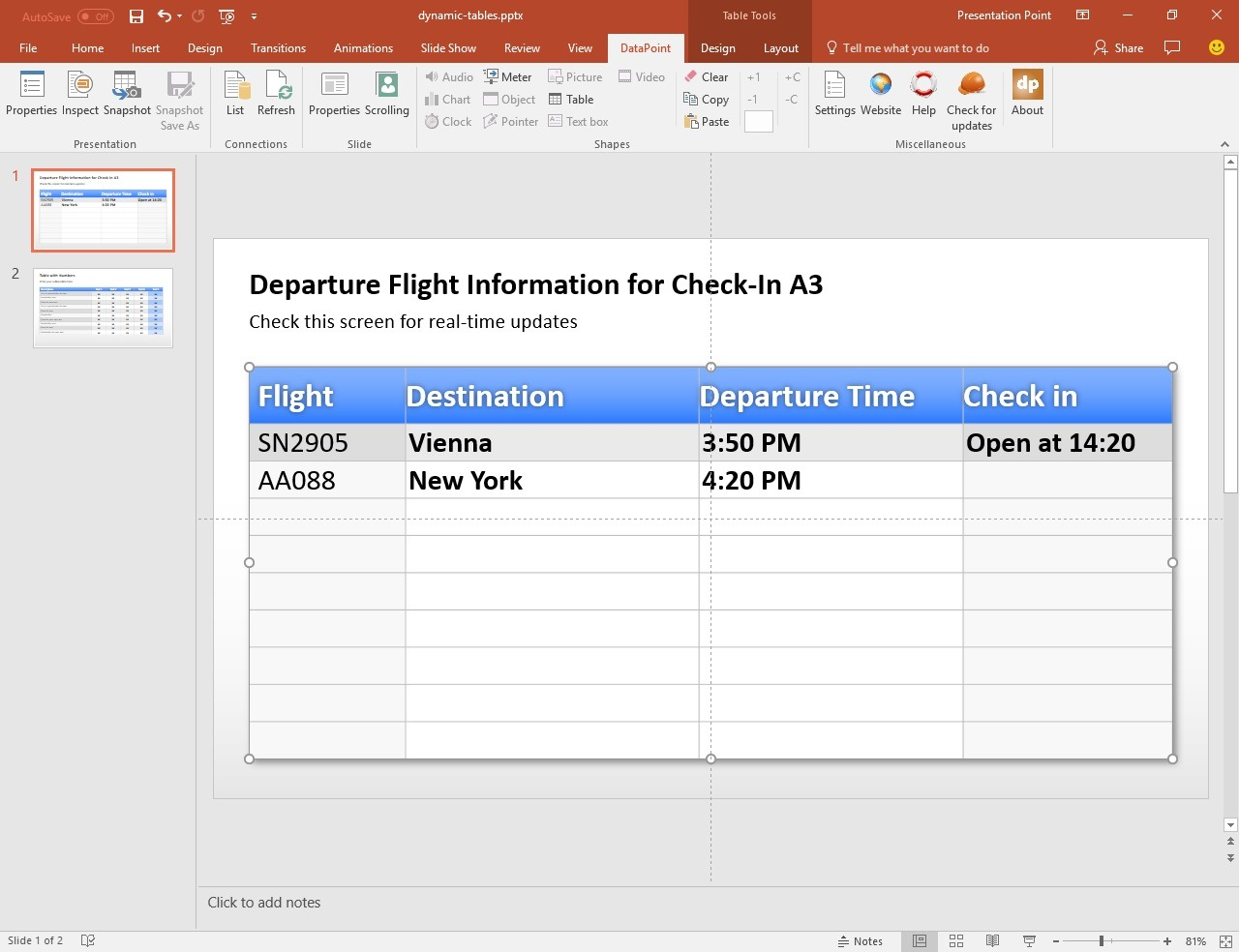 PowerPoint Tables with Real-Time Data • PresentationPoint