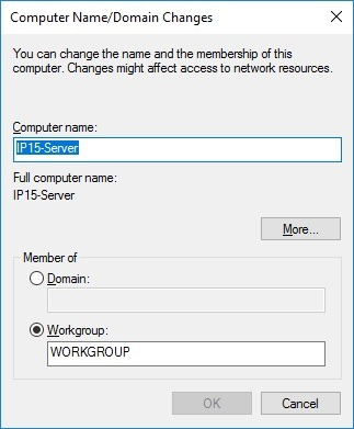 change computer name and domain settings