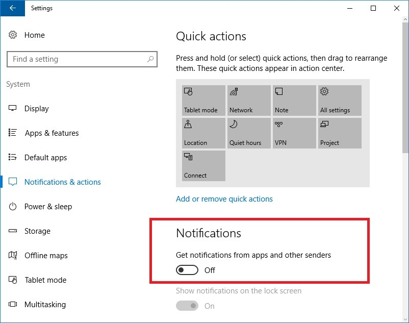 disable notifications of applications