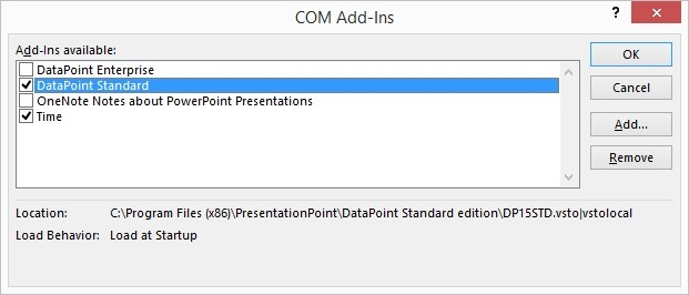 check the addins that you want to load in powerpoint