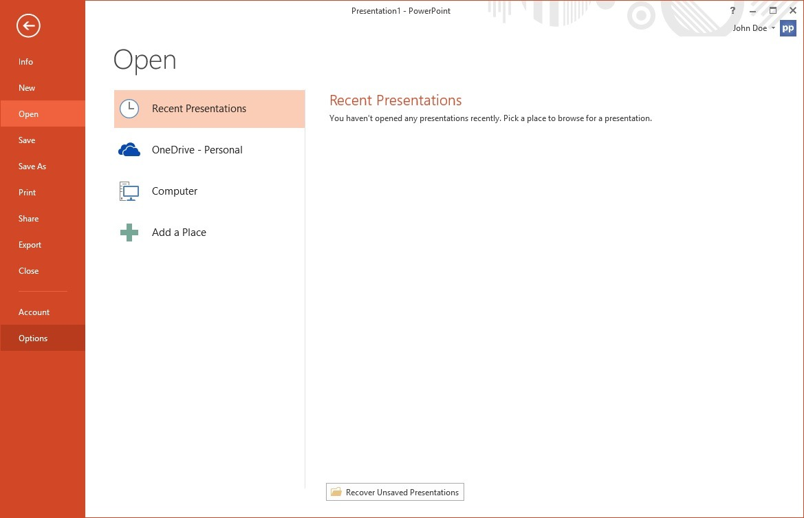 start powerpoint and click file options from the menu
