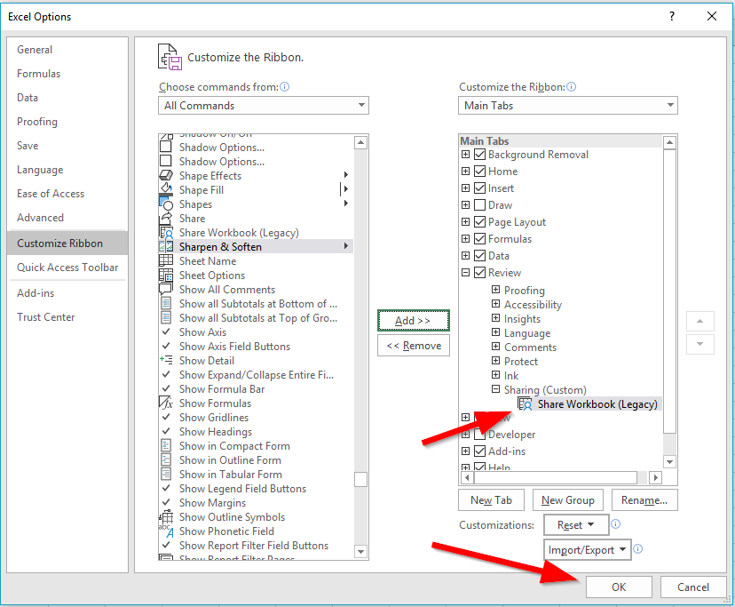 excel share workbook command added to group