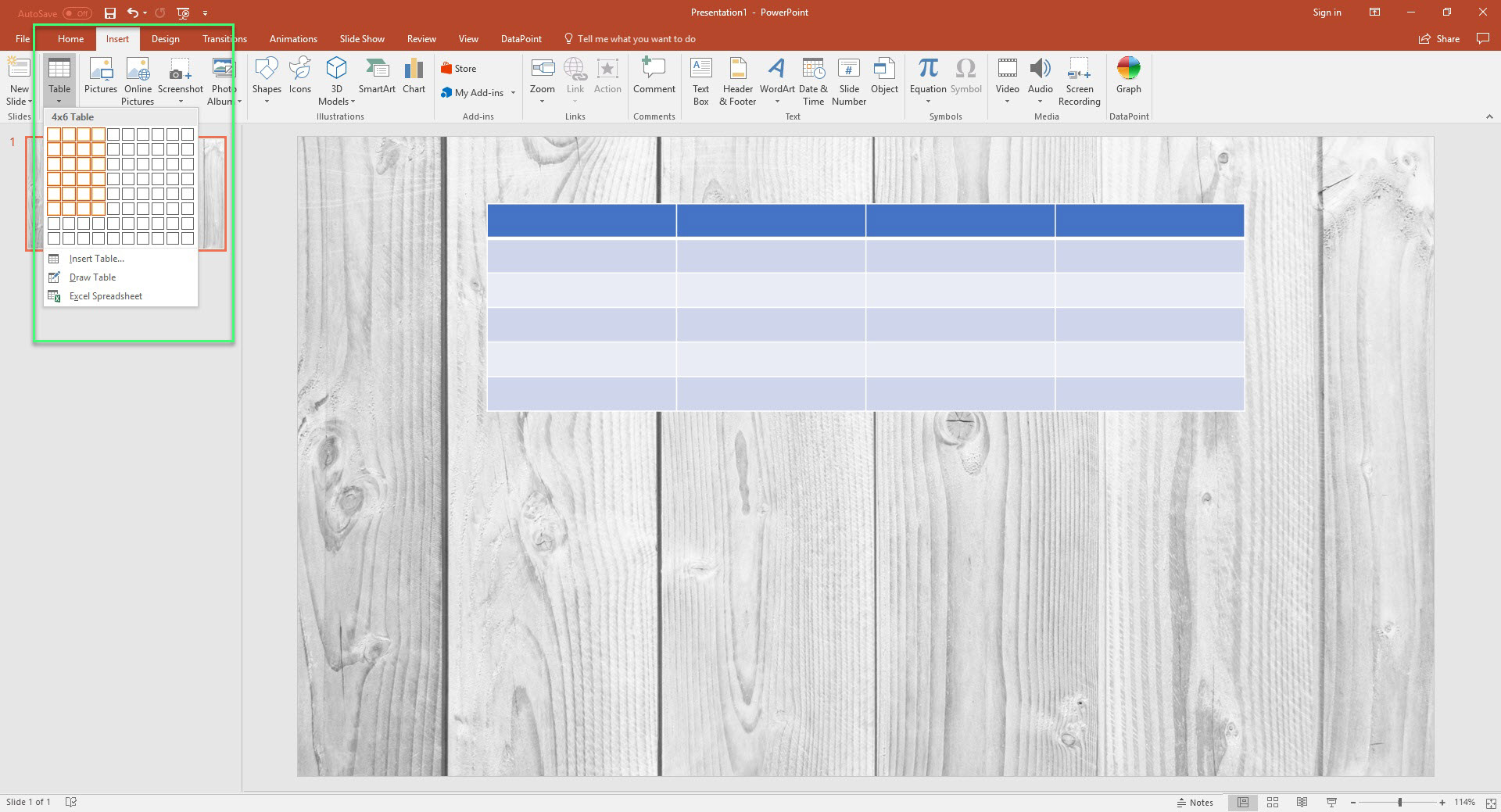 google sheet how to add a table