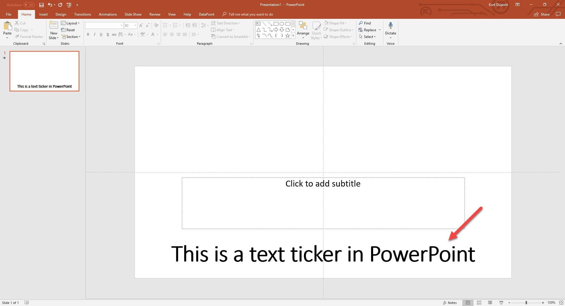 PowerPoint ticker text animation