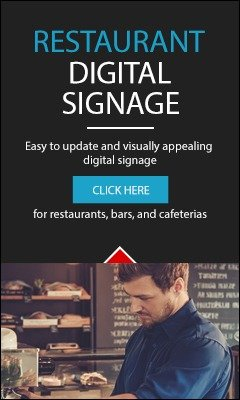 Great digital signage for restaurants, bars, cafeterias