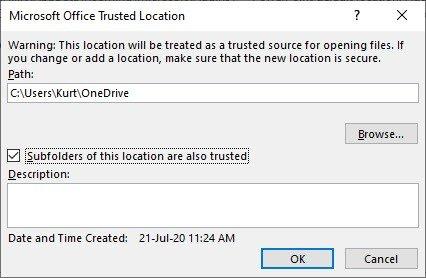 add a folder as trusted location