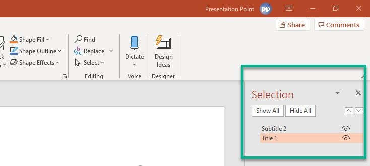 PowerPoint selection pane opened