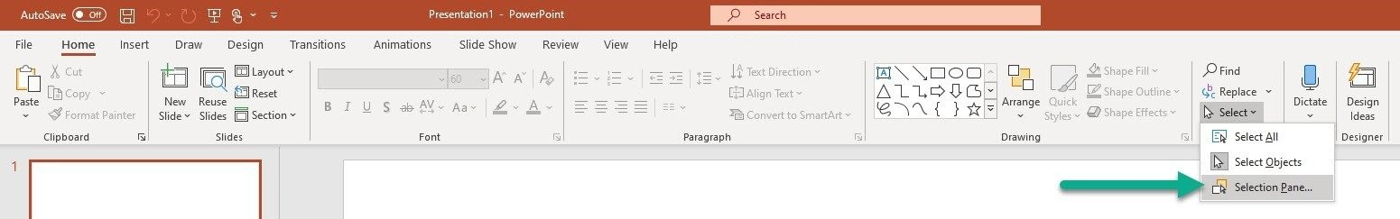 Open PowerPoint selection pane method 1