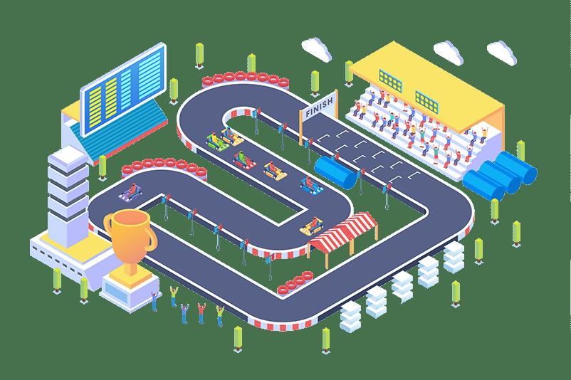 kart circuit event with displays