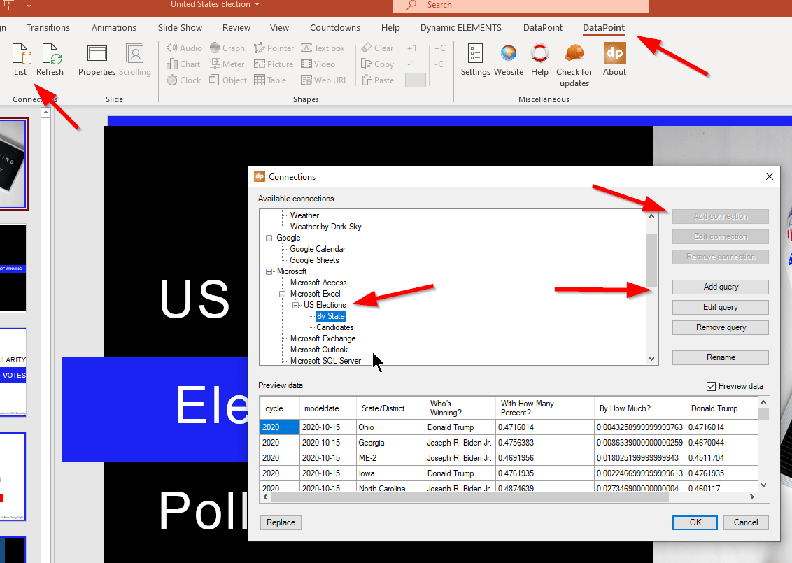 create data connections with powerpoint