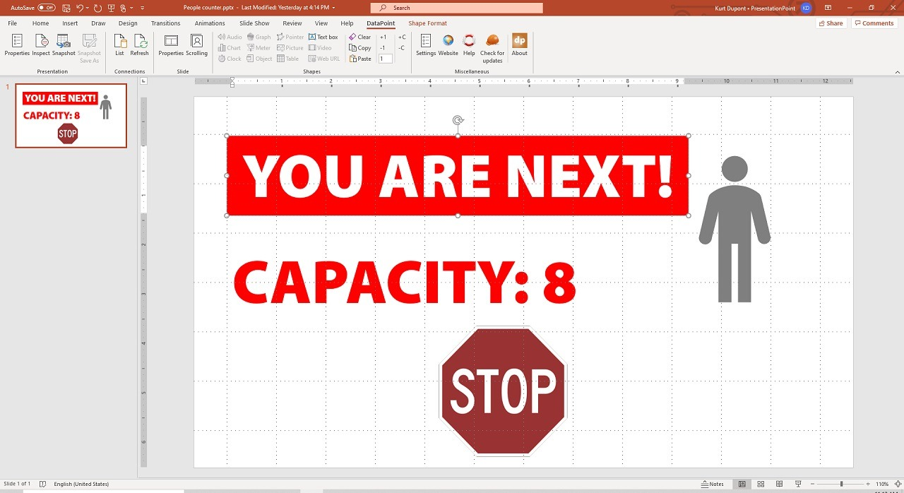 Covid-19 dynamic people counter display created in PowerPoint for digital signage screens