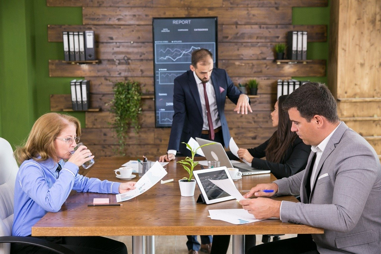 business communication in offices via screens