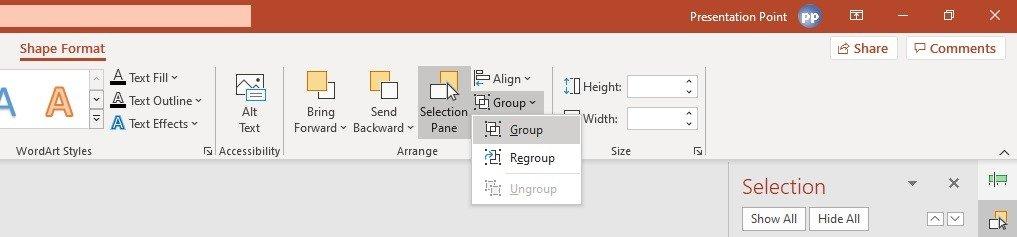 group shapes via the selection pane