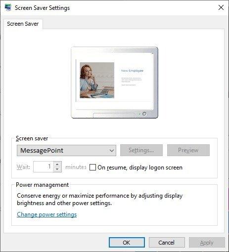 set messagepoint as active screensaver