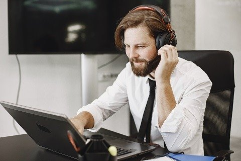 sales person using presentation and webcam for a call