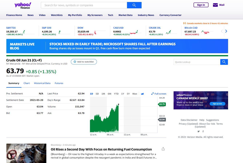 live crude oil price - Yahoo Finance