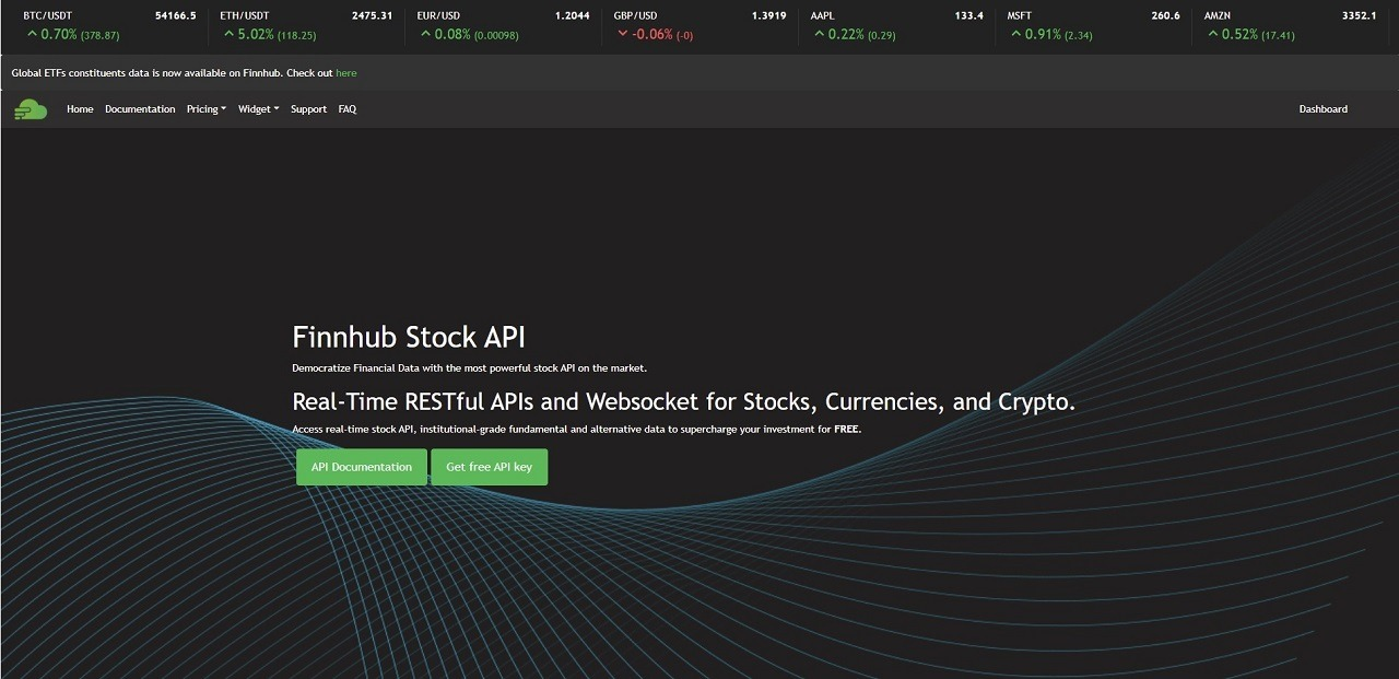real-time stock quotes api service finnhub.io