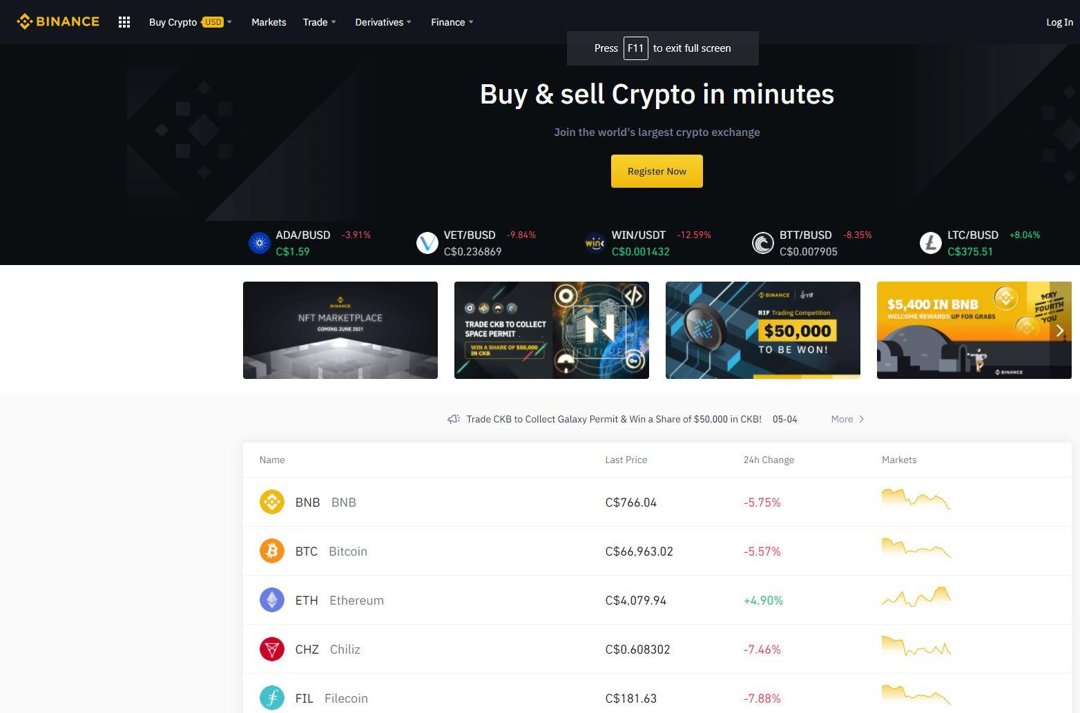 Binance crypto dashboard