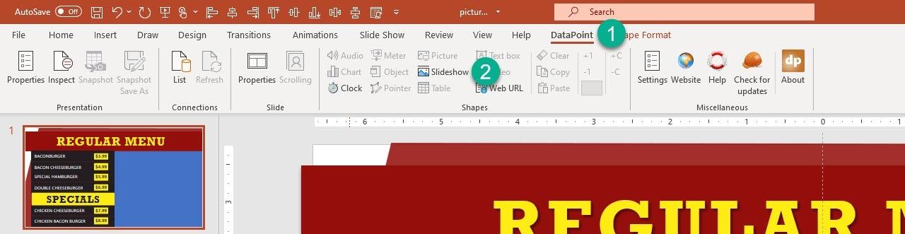 datapoint slideshow menu option
