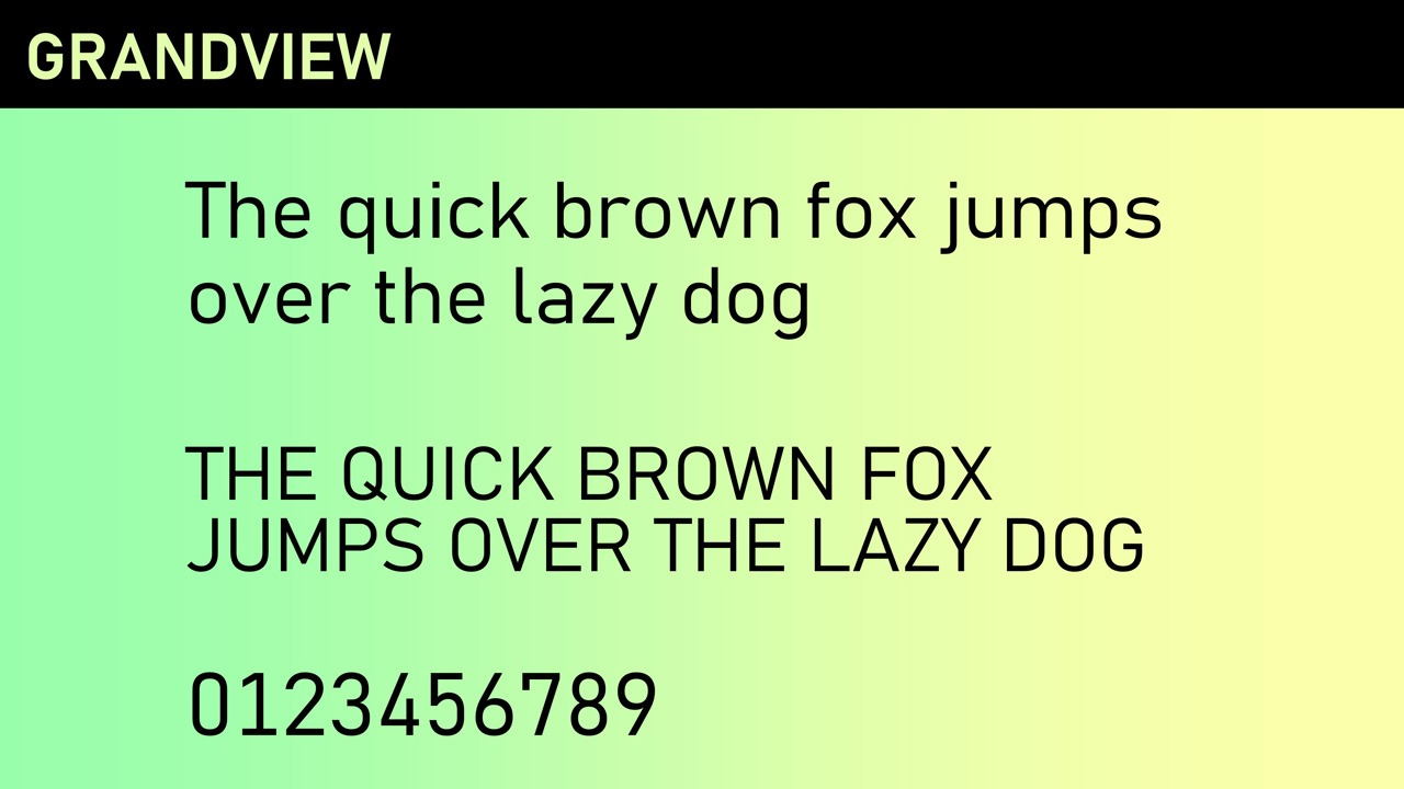 New Grandview Office font