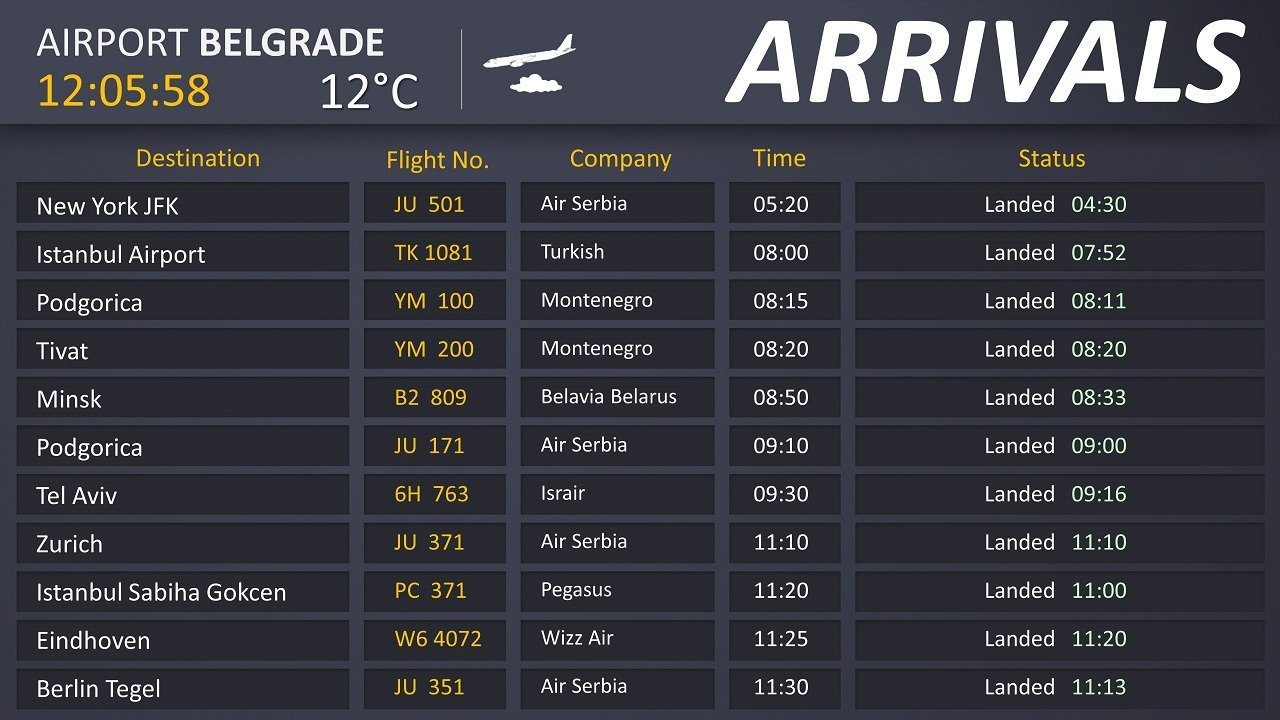 airport Belgrade flight info screen